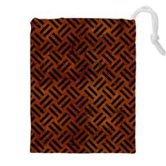 Woven2 Black Marble & Brown Burl Wood (r) Drawstring Pouch (xxl)