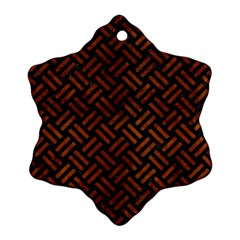 Woven2 Black Marble & Brown Burl Wood Snowflake Ornament (two Sides)