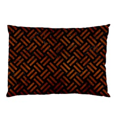 Woven2 Black Marble & Brown Burl Wood Pillow Case (two Sides)