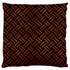 Woven2 Black Marble & Brown Burl Wood Large Flano Cushion Case (one Side)