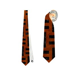 Woven1 Black Marble & Brown Burl Wood (r) Necktie (two Side)