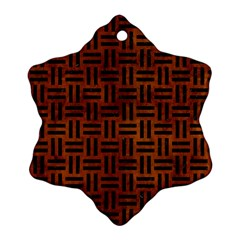 Woven1 Black Marble & Brown Burl Wood (r) Snowflake Ornament (two Sides)
