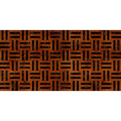 Woven1 Black Marble & Brown Burl Wood (r) You Are Invited 3d Greeting Card (8x4)