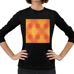 Sunny Happy Orange Dots Women s Long Sleeve Dark T-Shirts