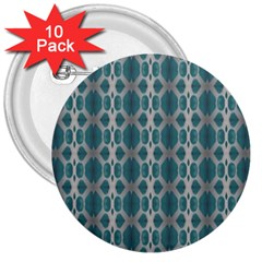 Tropical Blue Abstract Ocean Drops 3  Buttons (10 pack)