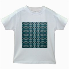 Tropical Blue Abstract Ocean Drops Kids White T-Shirts