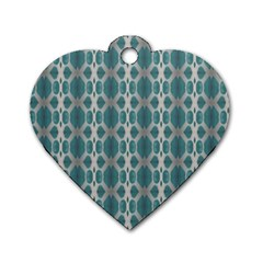Tropical Blue Abstract Ocean Drops Dog Tag Heart (One Side)