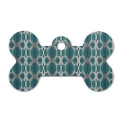 Tropical Blue Abstract Ocean Drops Dog Tag Bone (Two Sides)