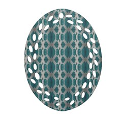 Tropical Blue Abstract Ocean Drops Oval Filigree Ornament (2 Side)