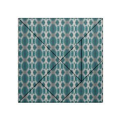 Tropical Blue Abstract Ocean Drops Acrylic Tangram Puzzle (4  X 4 )