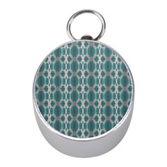 Tropical Blue Abstract Ocean Drops Mini Silver Compasses