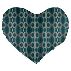 Tropical Blue Abstract Ocean Drops Large 19  Premium Flano Heart Shape Cushions