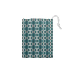 Tropical Blue Abstract Ocean Drops Drawstring Pouches (XS)