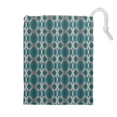 Tropical Blue Abstract Ocean Drops Drawstring Pouches (Extra Large)