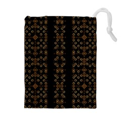 Dark Arabic Stripes Drawstring Pouches (Extra Large)