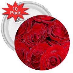 Red Roses Love 3  Buttons (10 pack)