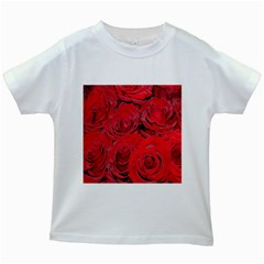 Red Roses Love Kids White T-Shirts