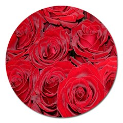 Red Roses Love Magnet 5  (Round)
