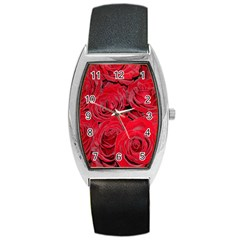 Red Roses Love Barrel Style Metal Watch