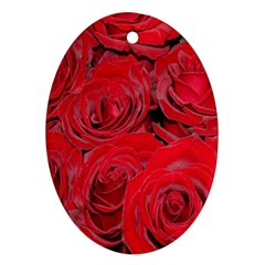 Red Roses Love Oval Ornament (Two Sides)