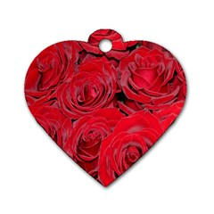 Red Roses Love Dog Tag Heart (One Side)