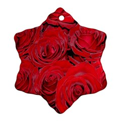 Red Roses Love Snowflake Ornament (2-Side)