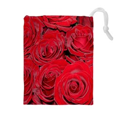 Red Roses Love Drawstring Pouches (extra Large)