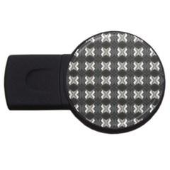 Black White Gray Crosses USB Flash Drive Round (2 GB)