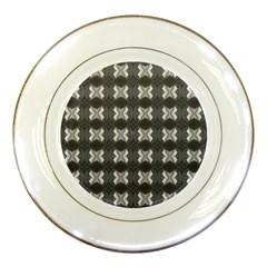 Black White Gray Crosses Porcelain Plates