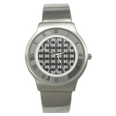 Black White Gray Crosses Stainless Steel Watch