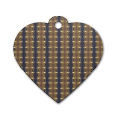 Black Brown Gold Stripes Dog Tag Heart (One Side)