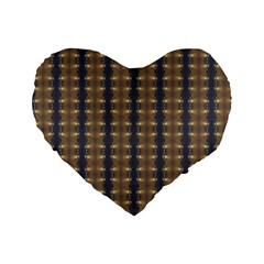 Black Brown Gold Stripes Standard 16  Premium Flano Heart Shape Cushions