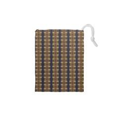 Black Brown Gold Stripes Drawstring Pouches (XS)