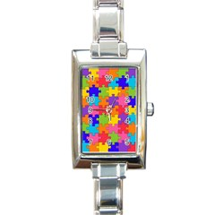 Funny Colorful Jigsaw Puzzle Rectangle Italian Charm Watch