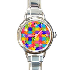 Funny Colorful Jigsaw Puzzle Round Italian Charm Watch