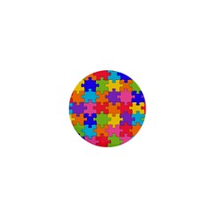 Funny Colorful Jigsaw Puzzle 1  Mini Buttons