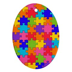 Funny Colorful Jigsaw Puzzle Ornament (oval)