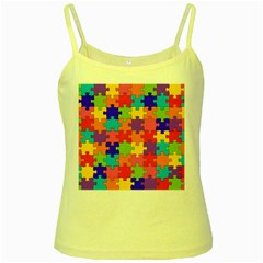 Funny Colorful Jigsaw Puzzle Yellow Spaghetti Tank