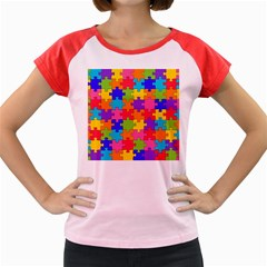 Funny Colorful Jigsaw Puzzle Women s Cap Sleeve T Shirt