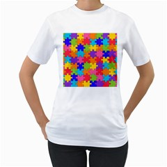 Funny Colorful Jigsaw Puzzle Women s T Shirt (white) (two Sided)
