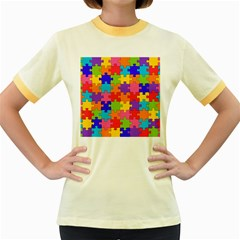 Funny Colorful Jigsaw Puzzle Women s Fitted Ringer T Shirts
