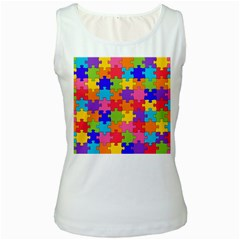 Funny Colorful Jigsaw Puzzle Women s White Tank Top