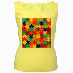 Funny Colorful Jigsaw Puzzle Women s Yellow Tank Top