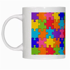 Funny Colorful Jigsaw Puzzle White Mugs