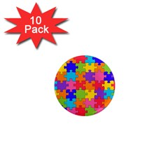 Funny Colorful Jigsaw Puzzle 1  Mini Magnet (10 Pack)