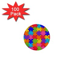 Funny Colorful Jigsaw Puzzle 1  Mini Buttons (100 Pack)