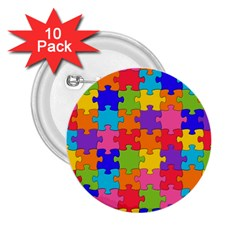 Funny Colorful Jigsaw Puzzle 2 25  Buttons (10 Pack)