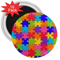Funny Colorful Jigsaw Puzzle 3  Magnets (10 Pack)