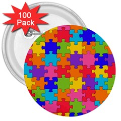 Funny Colorful Jigsaw Puzzle 3  Buttons (100 Pack)