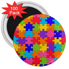 Funny Colorful Jigsaw Puzzle 3  Magnets (100 Pack)